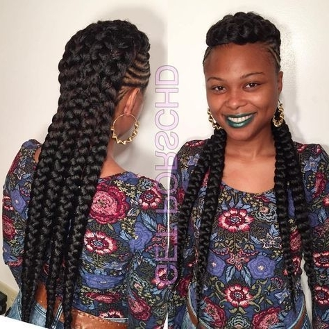 Braided Mohawk With Chunky Braids | African Hair | Pinterest Throughout Newest Chunky Mohawk Braid With Cornrows (View 1 of 15)