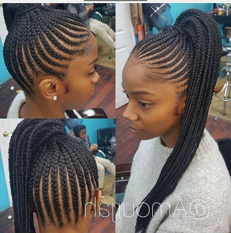 Braided Ponytail Hairstyles For Black Hair 2017 Cornrow Braid For Most Recently Cornrows Ponytail Hairstyles (View 14 of 15)