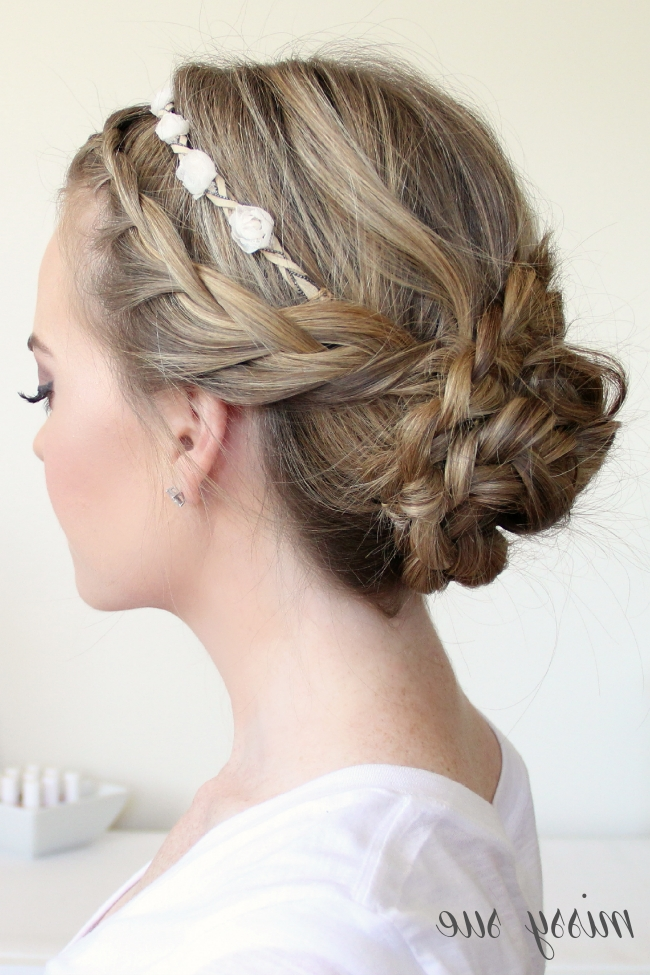 Braided Updo And Flower Crown Within Recent French Braid Crown And Bun Updo (View 3 of 15)