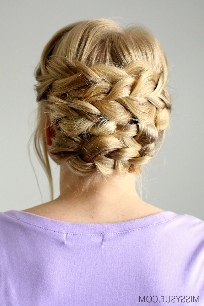Braided Updo For Shorter Hair Intended For Most Up To Date Updo With Forward Braided Bun (View 7 of 15)