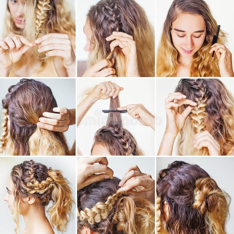 Braided Updo Tutorial For A Curly Hair Stock Image – Image Of Easy Pertaining To Most Up To Date Braided Updo With Curls (View 6 of 15)