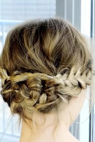Braided Updo With A Messy Touch For Short Hair | Lovehairstyles Inside Latest Braided Updo Hairstyles For Short Hair (View 7 of 15)