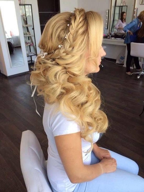 Bridal Hairstyles : Half Up Half Down Braided Wedding Hairstyle Via Throughout Best And Newest Long Braided Flowing Hairstyles (View 6 of 15)
