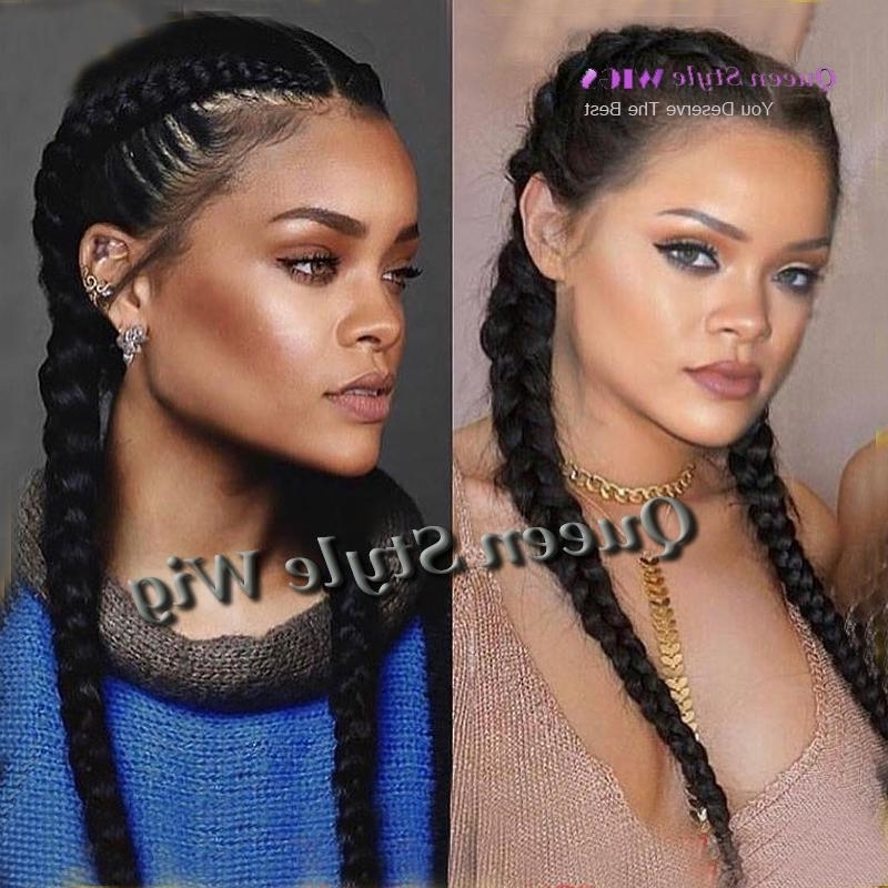 Celebrity Rihanna Double Dutch Braids Hairstyle Lace Front Wig Twin Throughout Most Recently Wigs Braided Hairstyles (View 4 of 15)