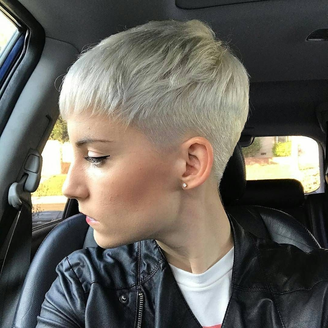 Close Cropped Platinum Blonde Pixie Cut | Pixie Cuts | Pinterest With Regard To Recent Bleach Blonde Pixie Haircuts (View 10 of 15)