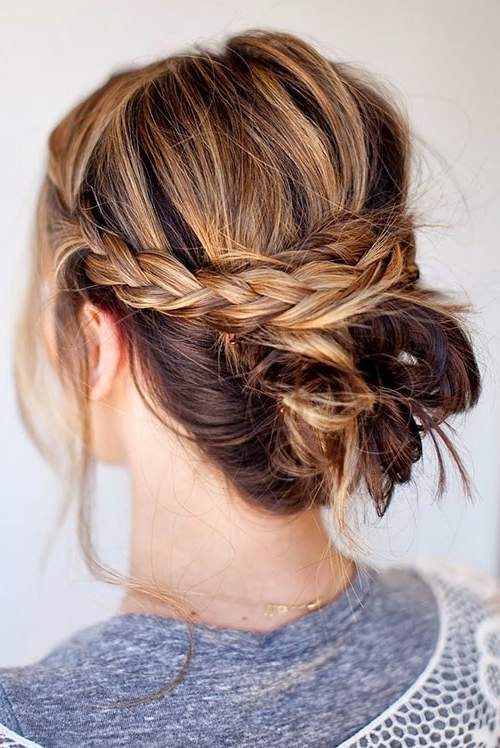 Cool Updo Hairstyles For Women With Short Hair | Fashionisers Within Best And Newest Braid Hairstyles To Messy Bun (View 2 of 15)