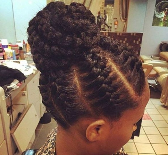 Cornrow Braids Updo Hairstyles For African Women With Big Braids Intended For Best And Newest Big Updo Cornrows Hairstyles (View 6 of 15)