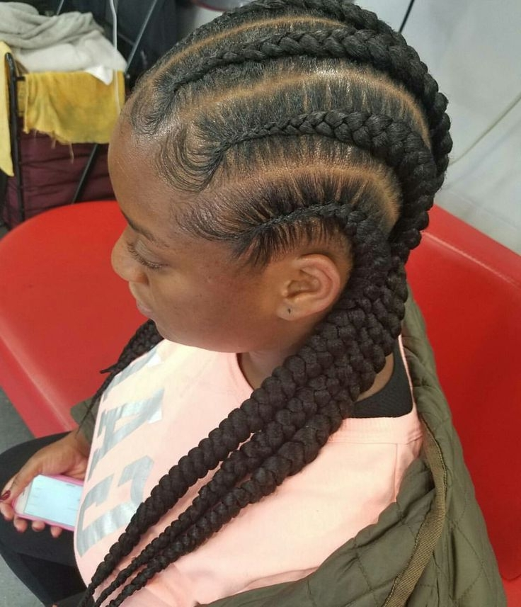 Cornrow Hairstyles Best 2017 Most Delightful Of Big Braids Going Throughout Most Current Cornrows Hairstyles Going Back (View 5 of 15)