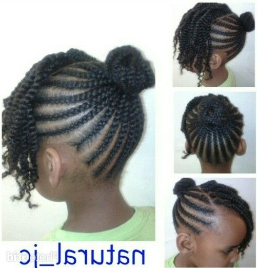 Cornrowed Bun Twisted Bangs | Baby Girl's Hairstyle | Pinterest Intended For Current Cornrows Hairstyles With Bangs (View 8 of 15)