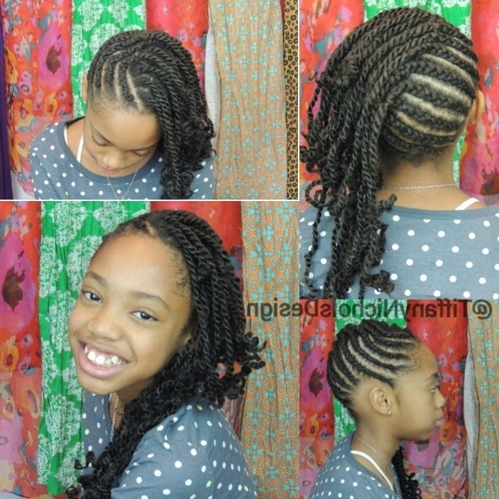 Cornrows And Twists Natural Hairstyle (Kid Friendly) – Youtube Inside Most Popular Cornrows With A Twist (View 8 of 15)