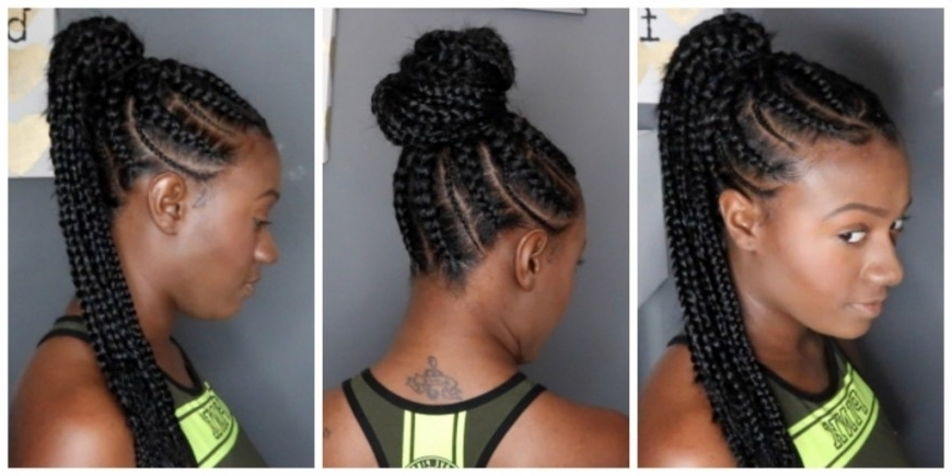 Cornrows Ponytail Hairstyles Feed In Braids Ponytail – Youtube With In Most Recent Cornrows Hairstyles With Ponytail (View 6 of 15)