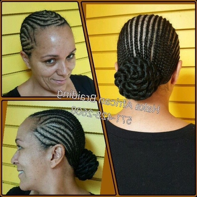 Cornrows Without Extension Into A Cute Bun 571 428 2608 Walk Ins With Most Recent Cornrows Hairstyles Without Extensions (View 8 of 15)