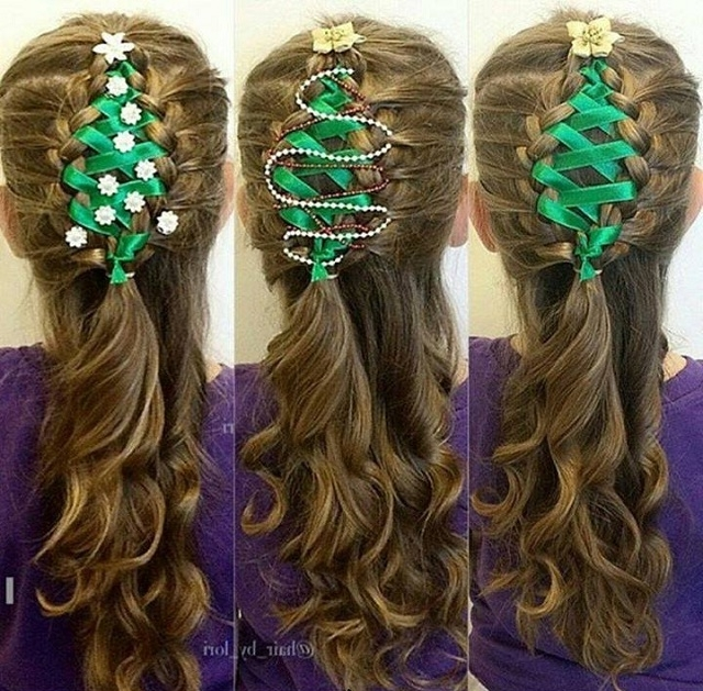 Corset Ribbon Braided Christmas Tree – Hairstyle Tutorial – Alldaychic For 2018 Braided Ribbon Hairstyles (View 8 of 15)