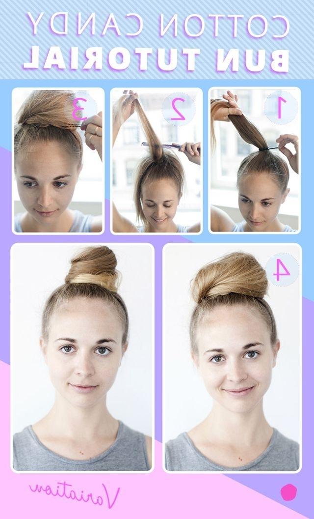 Cotton Candy Bun Tutorial   Cotton Candy Bun, Bun Tutorials And Regarding Newest Cotton Candy Updo Hairstyles (View 2 of 15)