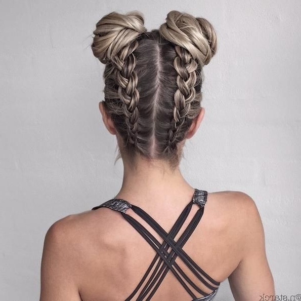 Creating A New Workout Hairstyle! #braidcreations … | Hair Throughout Most Recently Chunky Two French Braid Hairstyles With Bun (View 5 of 15)