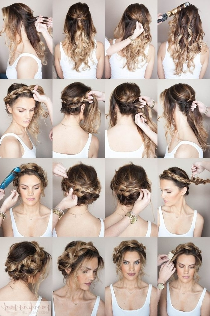 Crown Braid/halo Braid Braided Hair Tutorial // Skmu // Blog Inside Most Recent Braided Hairstyles With Crown (View 2 of 15)