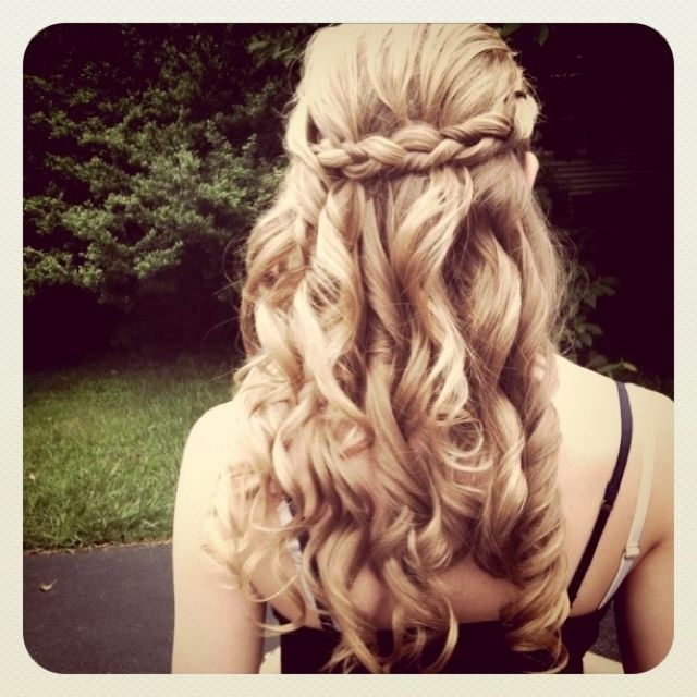 Curled Hair With French Braid Pulled Back (View 14 of 15)