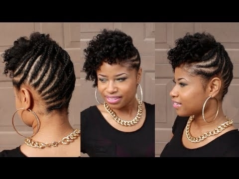 Curly Braided Updo On Natural Hair – Youtube Within Most Recently Braided Updos African American Hairstyles (View 9 of 15)