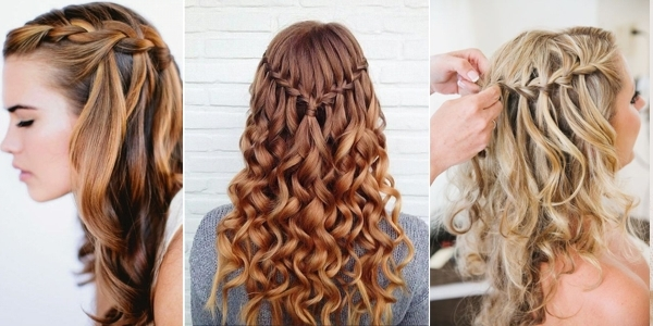 Curly Hair Waterfall Braid – Alldaychic Regarding Most Popular Braided Hairstyles On Curly Hair (View 6 of 15)