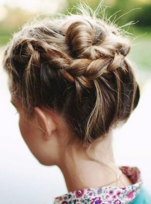 Cute Braided Updos For Short Hair In Most Current Braided Updo Hairstyles For Short Hair (View 15 of 15)