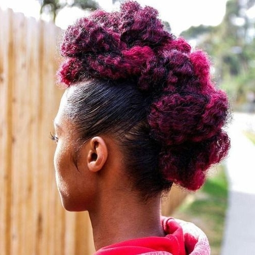 Cute Dyed Mohawk Magenta Purple Pinkish Color | Urban Hairstyles For Most Recently Twisted Black And Magenta Mohawk (View 1 of 15)