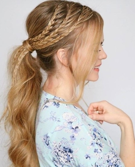 Cute French Braids Hairstyles Throughout Most Up To Date Sculptural Punky Ponytail Braids (View 11 of 15)