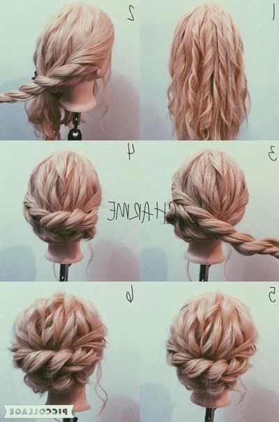 ???????? | ??????? | Warkocze | Pinterest | Hair Style, Loose Curls In Most Popular Braided Updo Hairstyle With Curls For Short Hair (View 12 of 15)