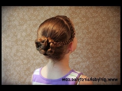 Dancer Hairstyle {Braids And Bun} – Youtube Pertaining To Current Braided Hairstyles For Dance Recitals (Gallery 4 of 15)