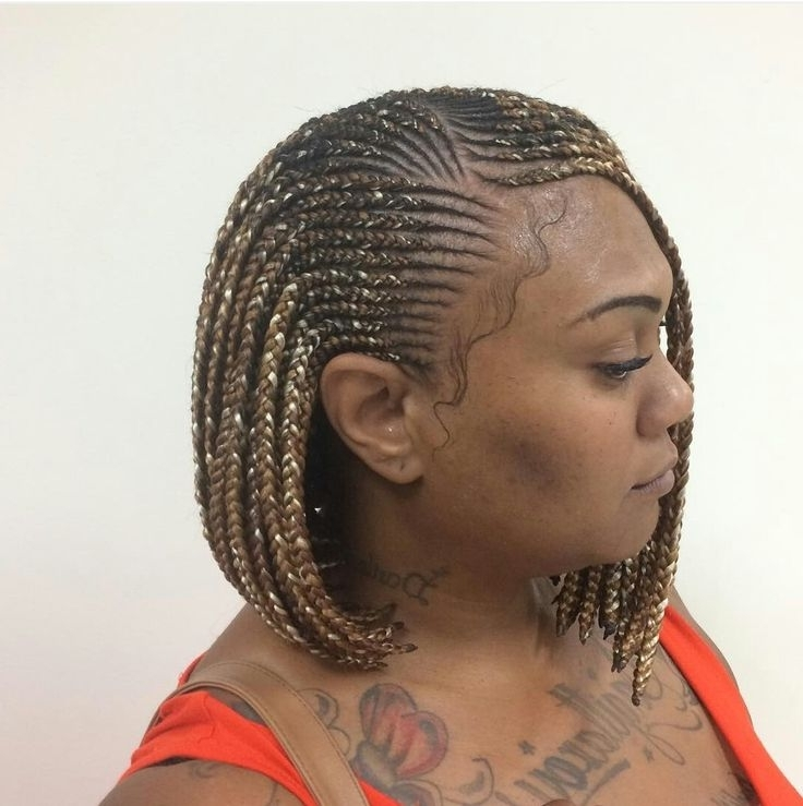 Dani Whitted (Whitteddani) On Pinterest Regarding Most Current Cornrows Bob Hairstyles (View 12 of 15)