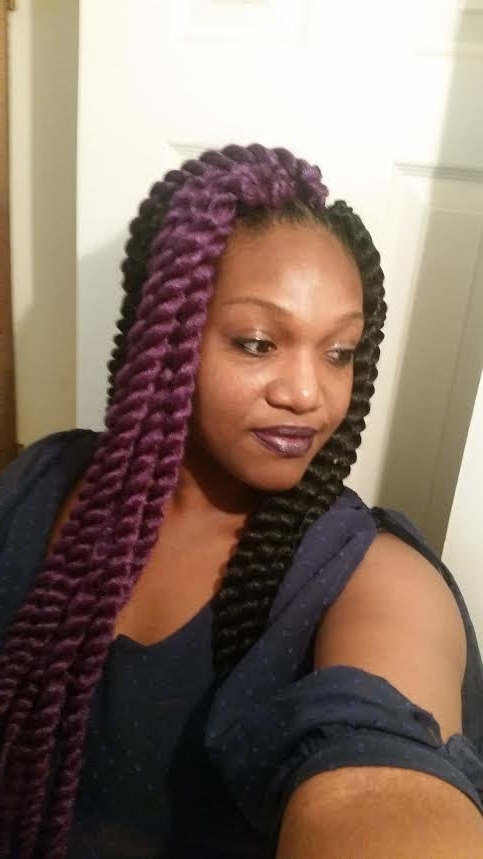 Deep Purple Havana Mambo Twist Crochet On Tapered Sides – Youtube Intended For Most Popular Braided Hairstyles With Tapered Sides (Gallery 15 of 15)