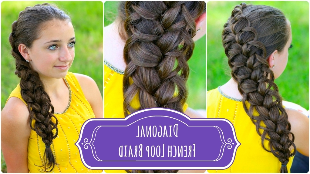 Diagonal French Loop Braid | Cute Braid Hairstyles | Cute Girls In Most Up To Date Diagonal Two French Braid Hairstyles (View 5 of 15)
