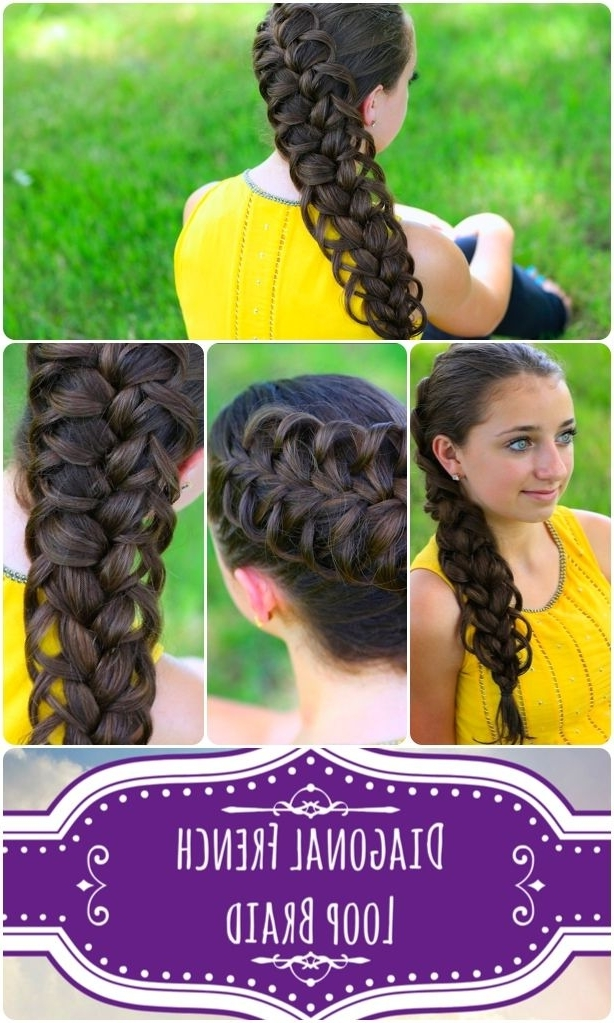 Diagonal French Loop Braid Video Tutorial And More Pics With Most Popular Diagonal French Braid Hairstyles (Gallery 5 of 15)