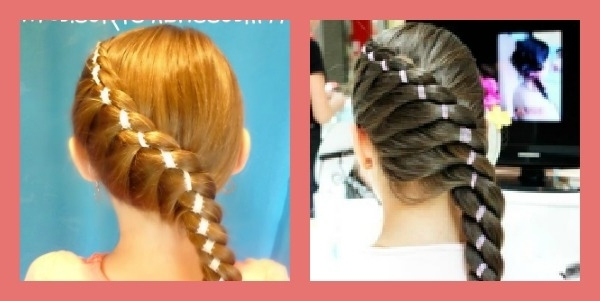 Diagonal Twist Braid With Ribbon Hairstyle – Hairstyles For Girls With Regard To Latest Braided Ribbon Hairstyles (View 13 of 15)