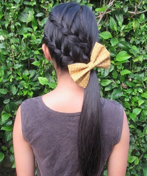 Diagonally Braided Ponytail. | Prom Hairstyles. | Pinterest Intended For Best And Newest Diagonal Two French Braid Hairstyles (Gallery 13 of 15)