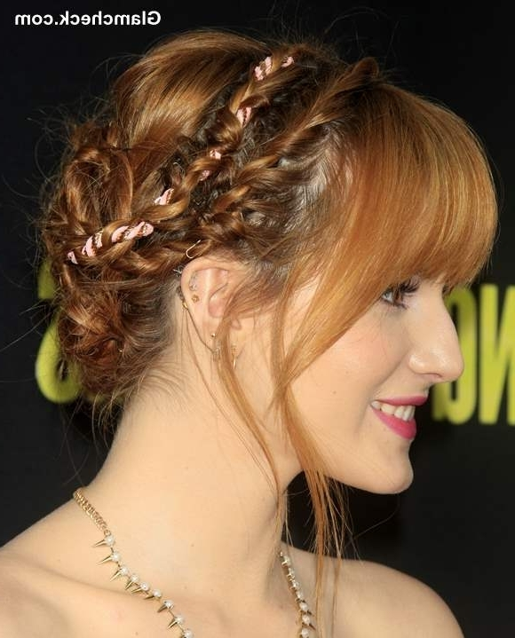 Diy: Bella Thorne's Pretty Double Braided Updo Intended For Most Recently Double Braids Updo Hairstyles (Gallery 10 of 15)