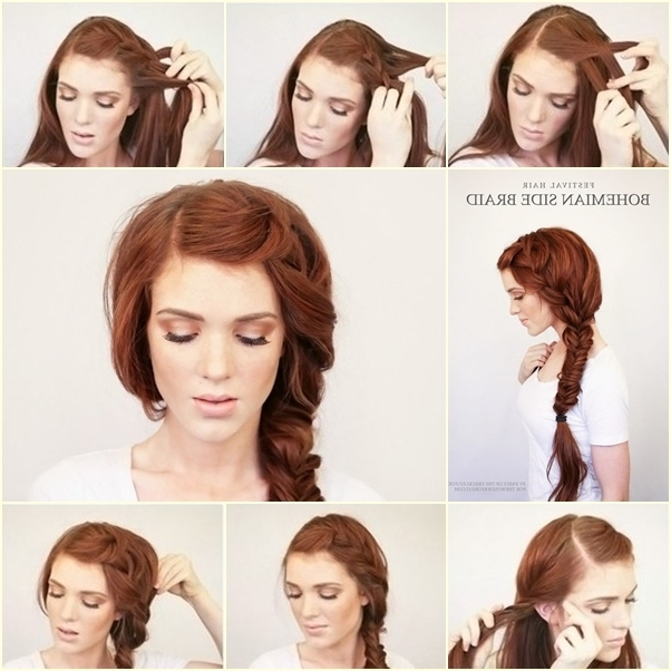 Diy Bohemian Side Braid Hairstyle – Fab Art Diy In Recent Diy Braided Hairstyles (Gallery 1 of 15)