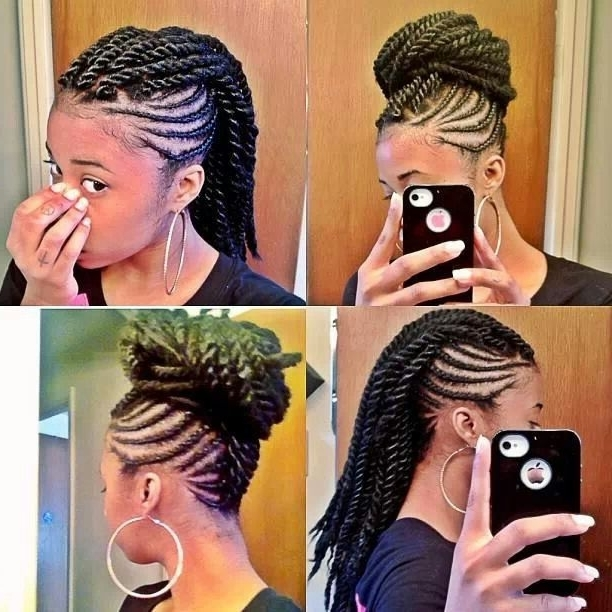 Dope! Cornrows And Chunky Twist Mowhawk. | Hair Lust | Pinterest Intended For Recent Chunky Mohawk Braid With Cornrows (Gallery 7 of 15)