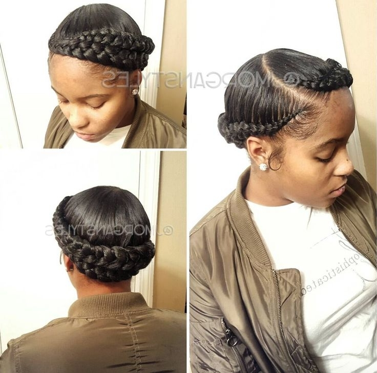 Dope Double Halo Braid Via @jmorganstyles Read The Article Here Intended For Most Up To Date Curvy Ghana Braids With Crown Bun (View 10 of 15)