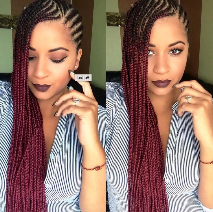 Dope Red Ombre Braids @eugenze Read The Article Here – Http://www For 2018 Dynamic Side Swept Cornrows Hairstyles (Gallery 5 of 15)