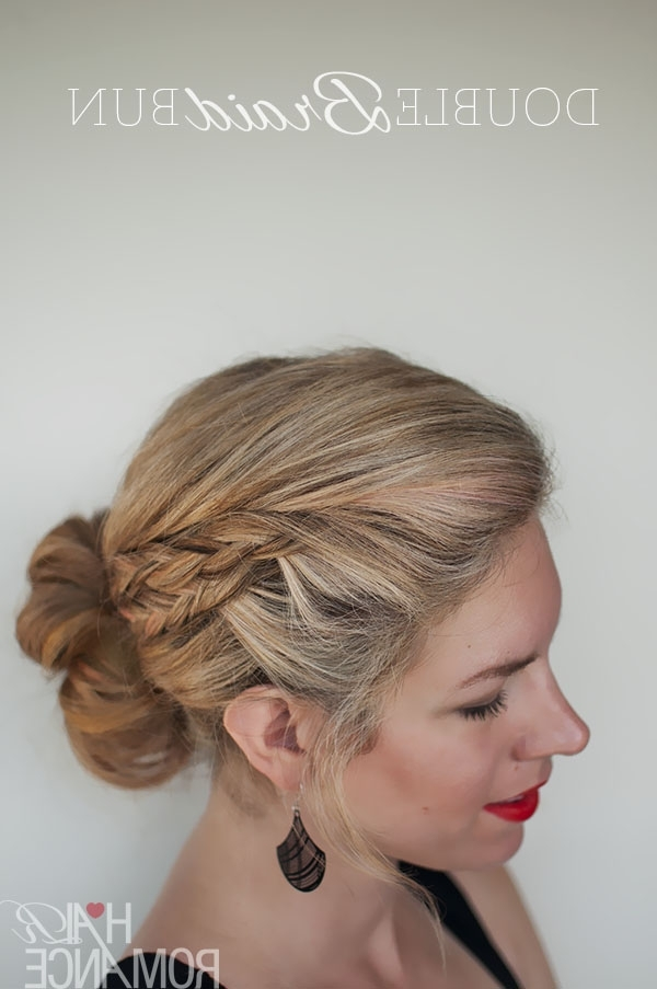 Double Braid Bun Hairstyle Tutorial – Hair Romance Pertaining To Most Current Double Braids Updo Hairstyles (Gallery 13 of 15)