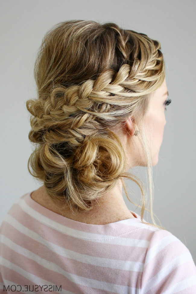 Double Braid Textured Updo With Latest Double Braids Updo Hairstyles (Gallery 15 of 15)