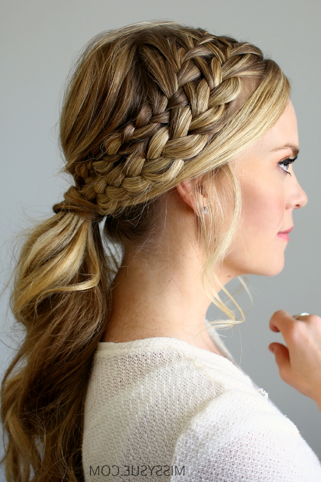 Double Braided Ponytail Within Most Popular Braided Hairstyles In A Ponytail (Gallery 9 of 15)