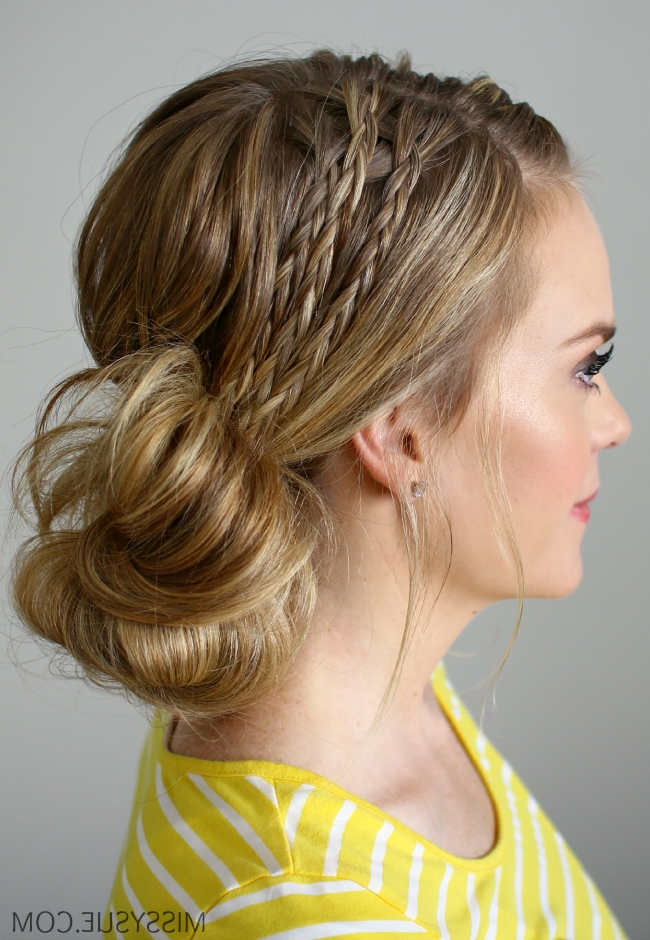 Double Braided Side Bun With Recent Side Bun With Double Loose Braids (View 2 of 15)