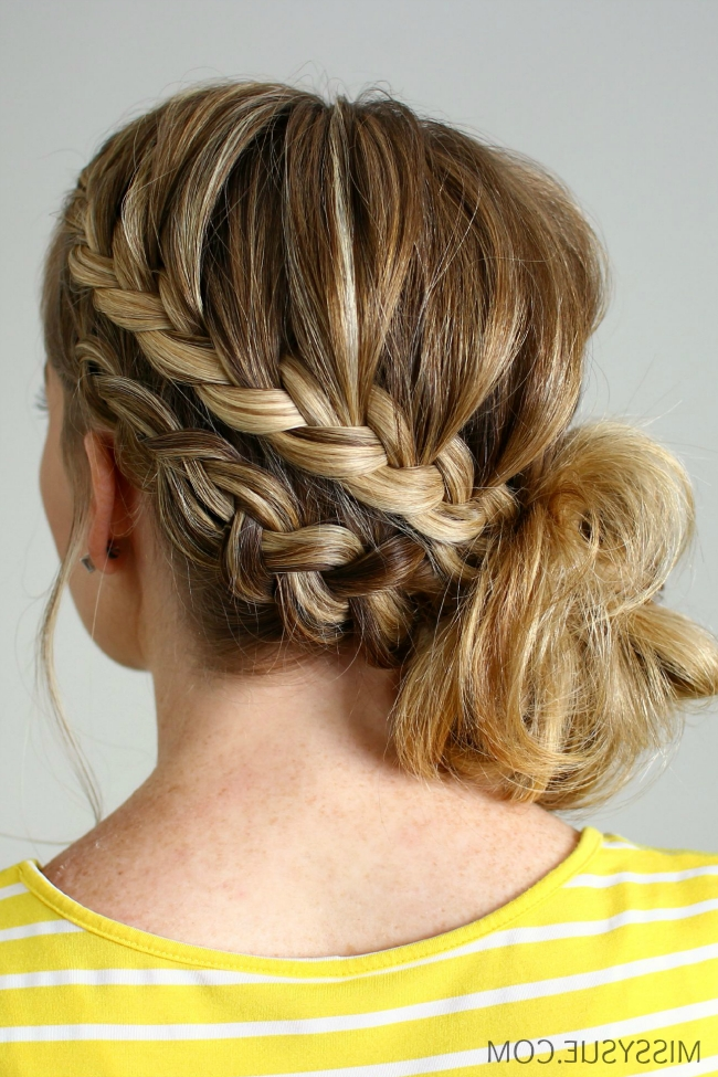 Double Braided Side Bun Within Best And Newest Low Side French Braid Hairstyles (View 4 of 15)
