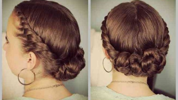Double Braided Updo Hairstyles For Medium Length • Latest Hairstyles Pertaining To Most Popular Double Braids Updo Hairstyles (View 8 of 15)