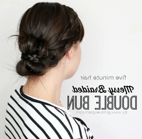 Double Bun With Two Braids | Braided Hairstyles | Pinterest | French For Most Current Two French Braid Hairstyles With A Sock Bun (View 15 of 15)