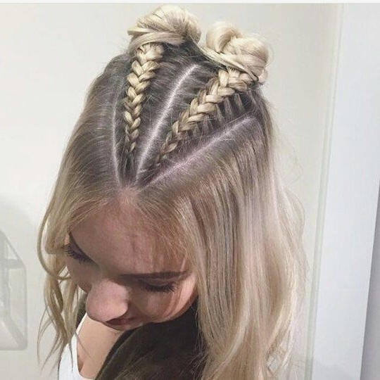 Double Buns: Thin Haired Girls, This 'do Is For You. Create Two With Most Recent Braided Hairstyles On Top Of Head (Gallery 7 of 15)