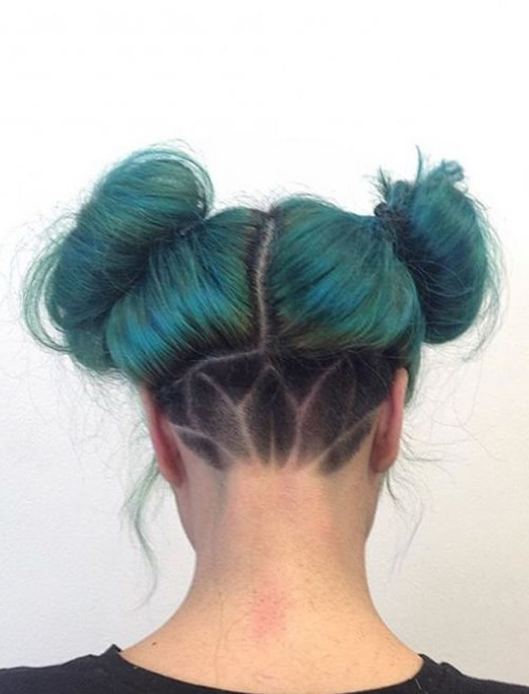 Double Buns Undercut Hairstyle For Green Hair – Hairstyles Pertaining To Most Recent Double Bun Mohawk With Undercuts (View 12 of 15)