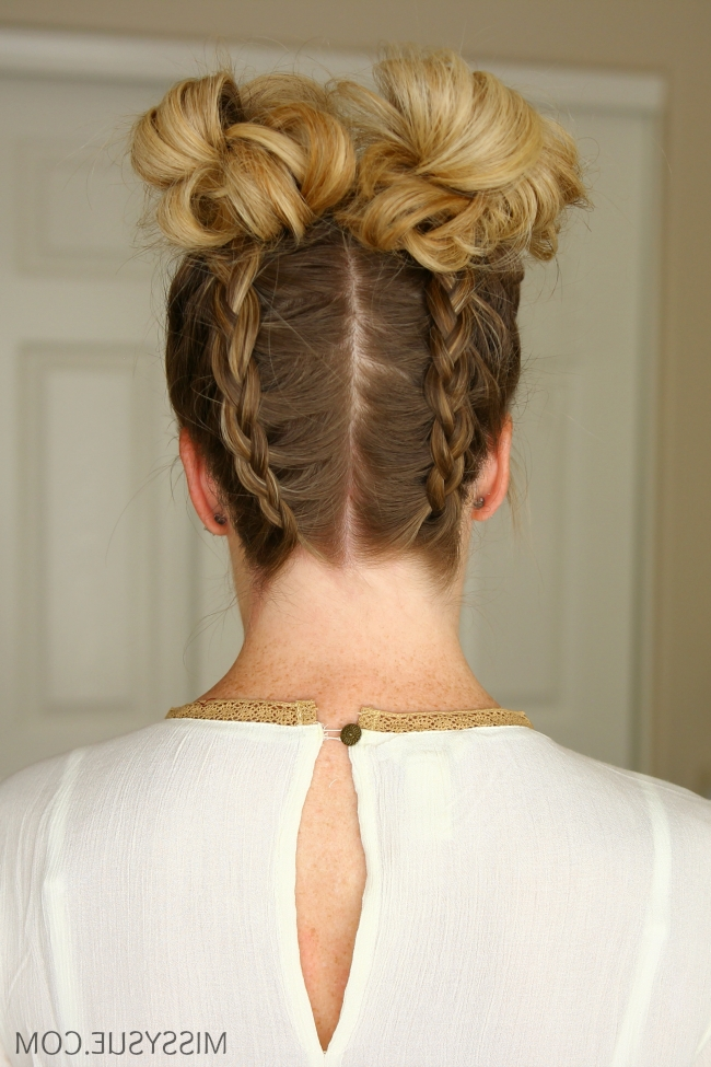 Double Dutch Braids High Buns | Missy Sue Pertaining To Recent Upside Down Braids With Double Buns (Gallery 5 of 15)