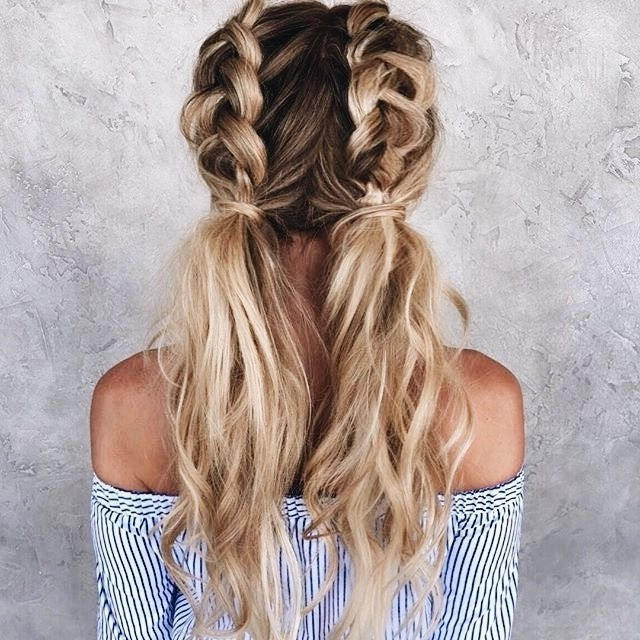 Double Dutch Braids Into Low Pigtails #ad | Hairstalyes | Pinterest Throughout 2018 French Braids Into Pigtails (Gallery 5 of 15)